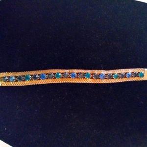 Vintage Weiss Chain Mesh & Rhinestone Bracelet